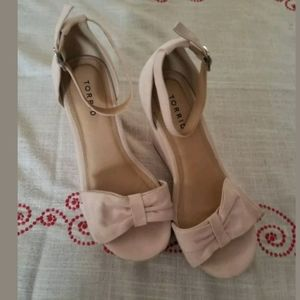 Nude Faux Suede Bow Wedge Sandal Size 9.5